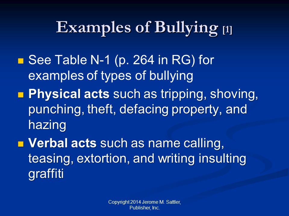 Examples of Bullying [1]